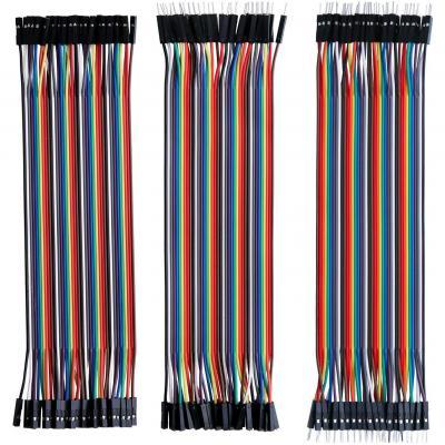 ELEGOO 120pcs 3 in 1 Kit Cavetti Jumper Filo Dupont Multicolore Wire 28AWG Cavi 40 pezzi da M F Maschio a Femmina