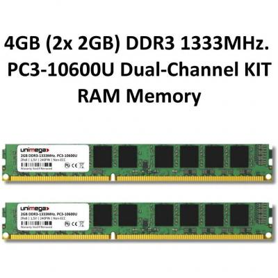 4GB (2X 2GB) Dual Channel kit DDR31333MHz PC3 10600u 240pin 2Rx8PC RAM Memory memoria ram