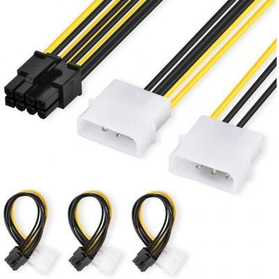 ELUTENG 3PCS 4 Pin Maschio a EPS 8 Pin Femmina PCI Express Interno Connettore Cavo 8 Pin PCI a 2XLP4 Molex Estensione