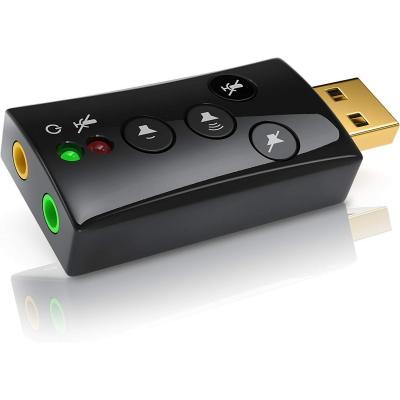 CSL, Scheda Audio USB Esterna Windows Mac Linux- 1x Ingresso Microfono 1x Uscita Cuffie, Dynamic 3D Surround Sound 7.1-4 Tasti Funzione
