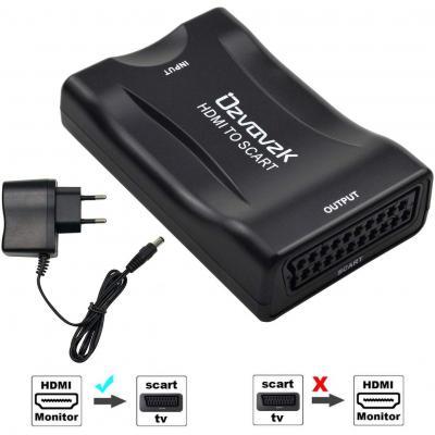 Ozvavzk Convertitore HDMI a SCART Adattatore Composito Video HD Audio Stereo Ingresso HDMI Uscita SCART